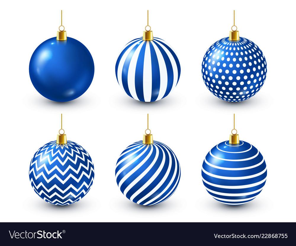Christmas tree shiny blue balls set new year