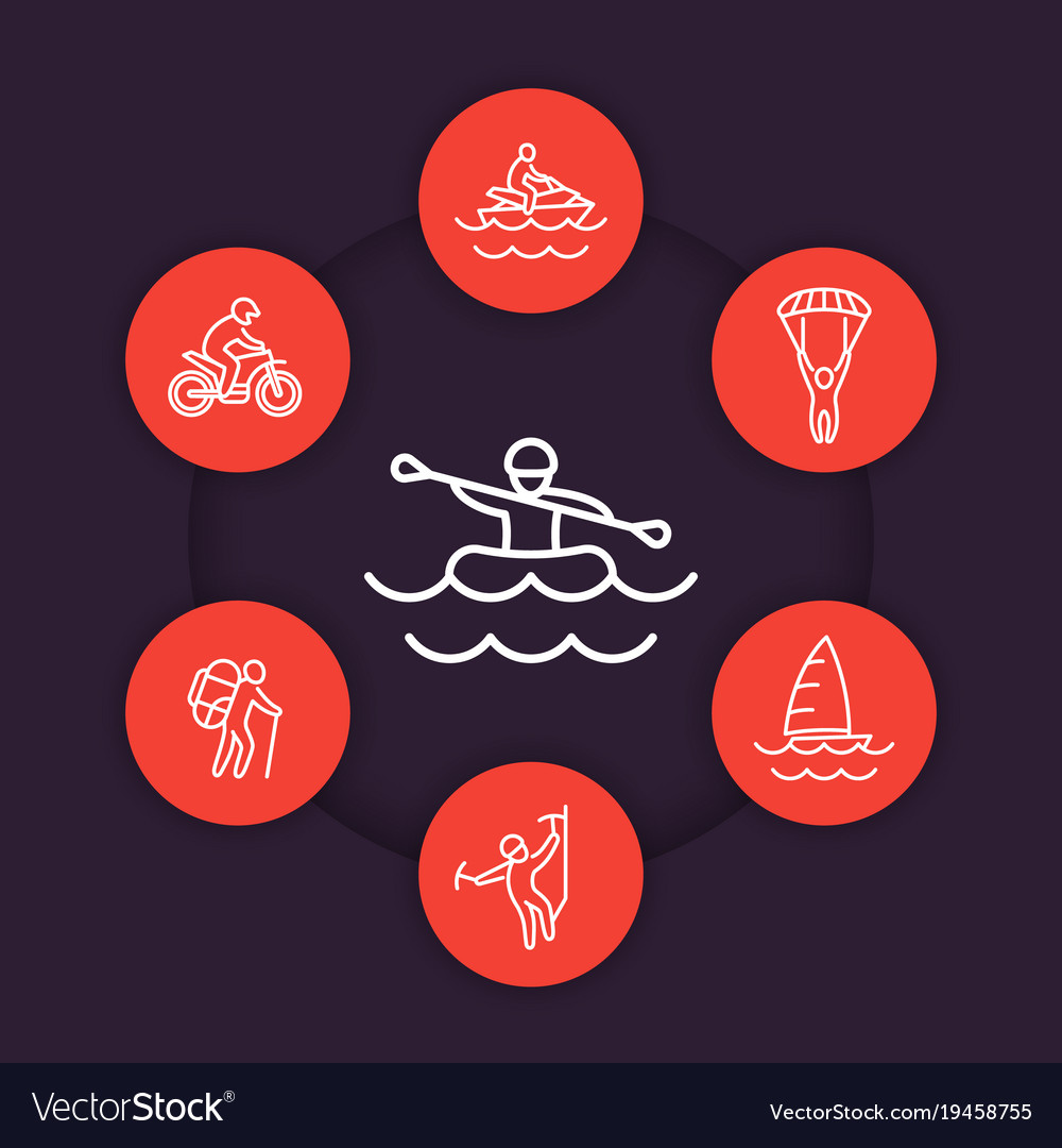 Extreme outdoor activities line icons