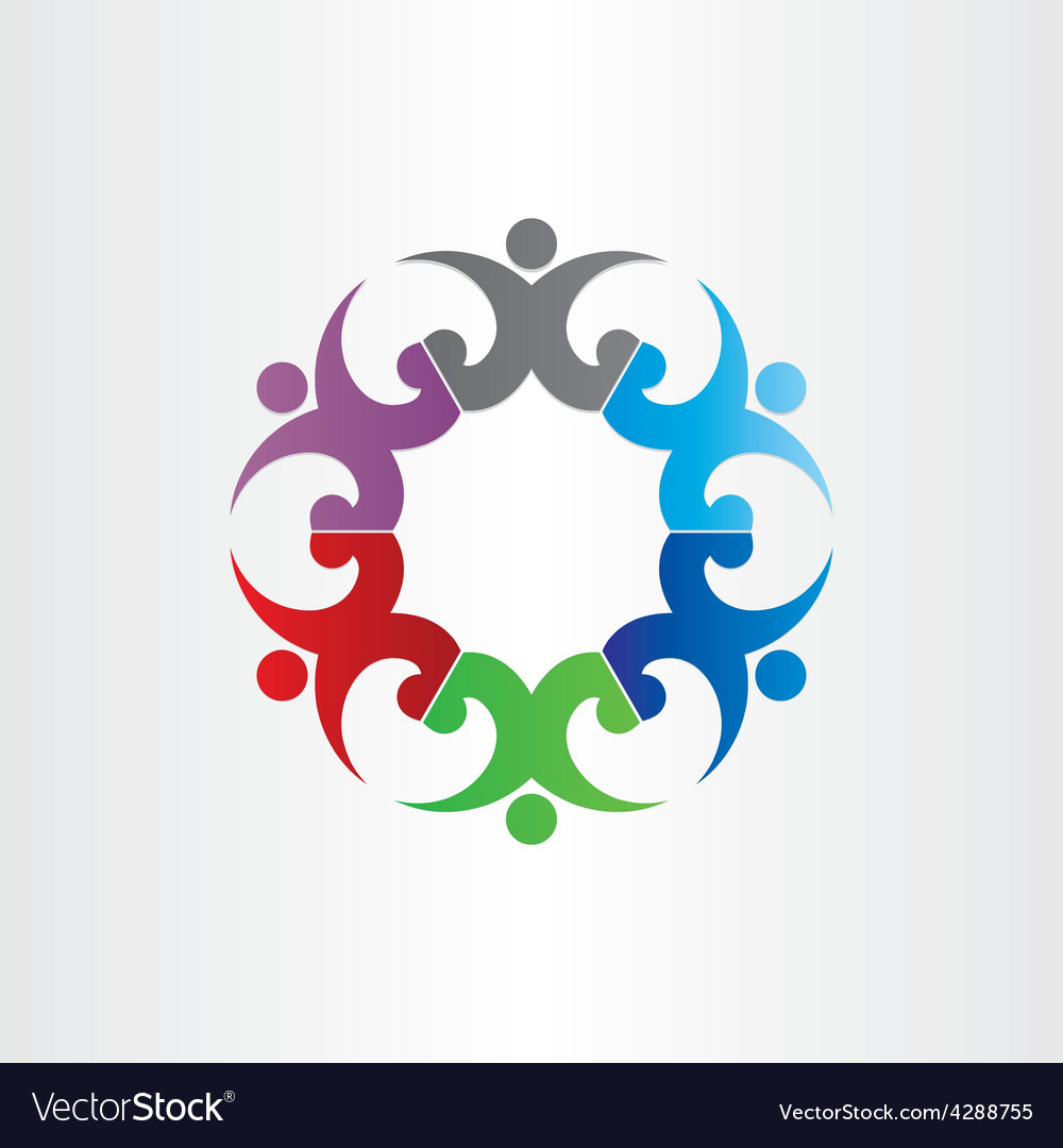 Group of people in circle party celebrating vector image