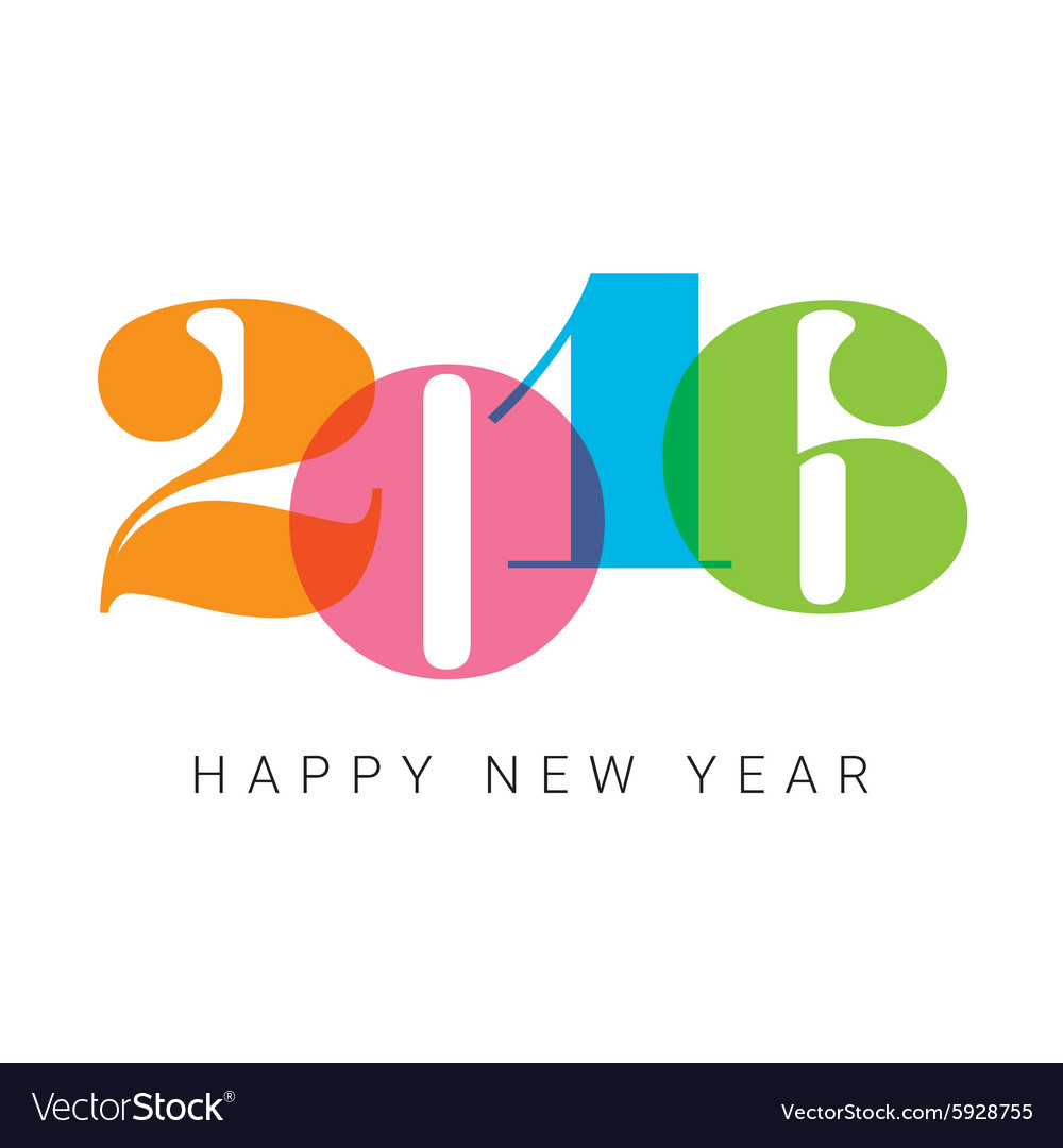Happy new year 2016 number font