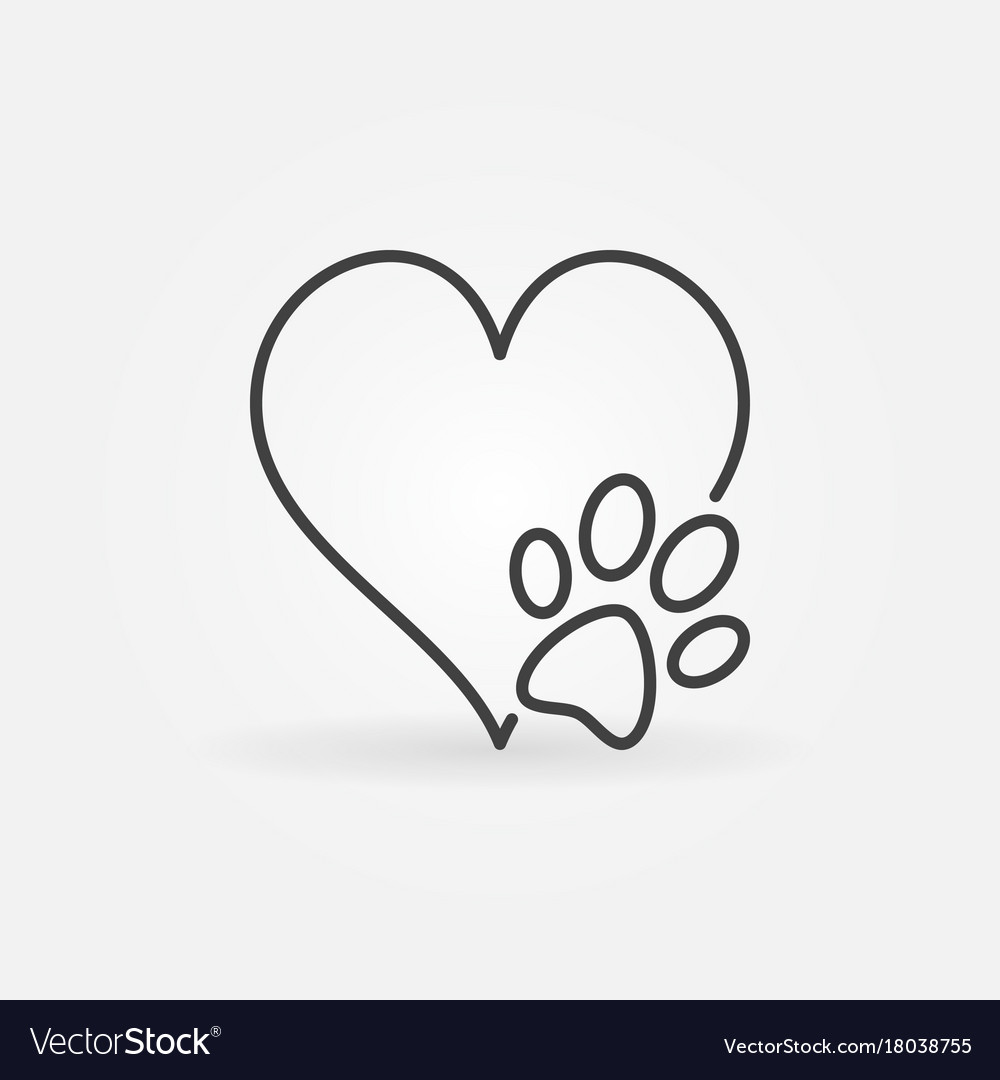 Heart with dog paw icon
