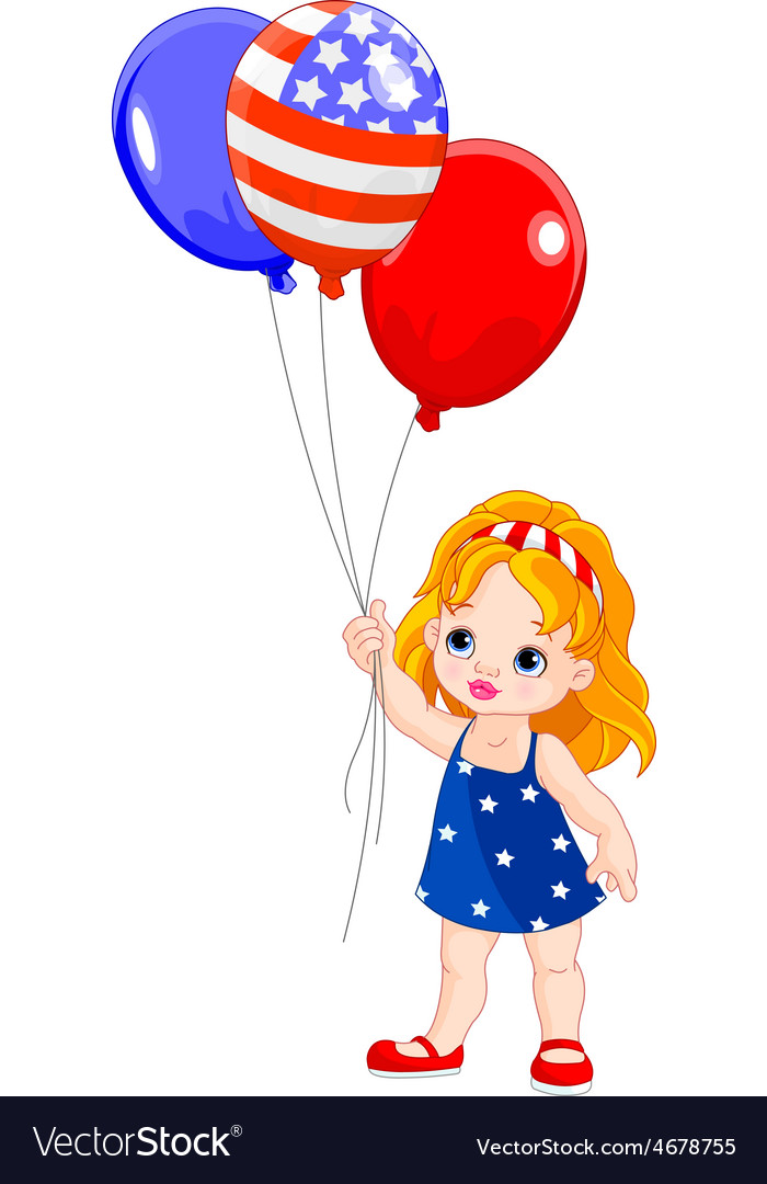 Картинка для детей девочка с шариками