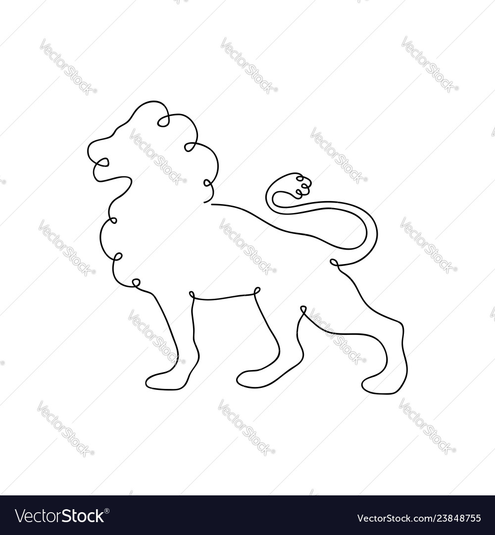 Lion one line drawing