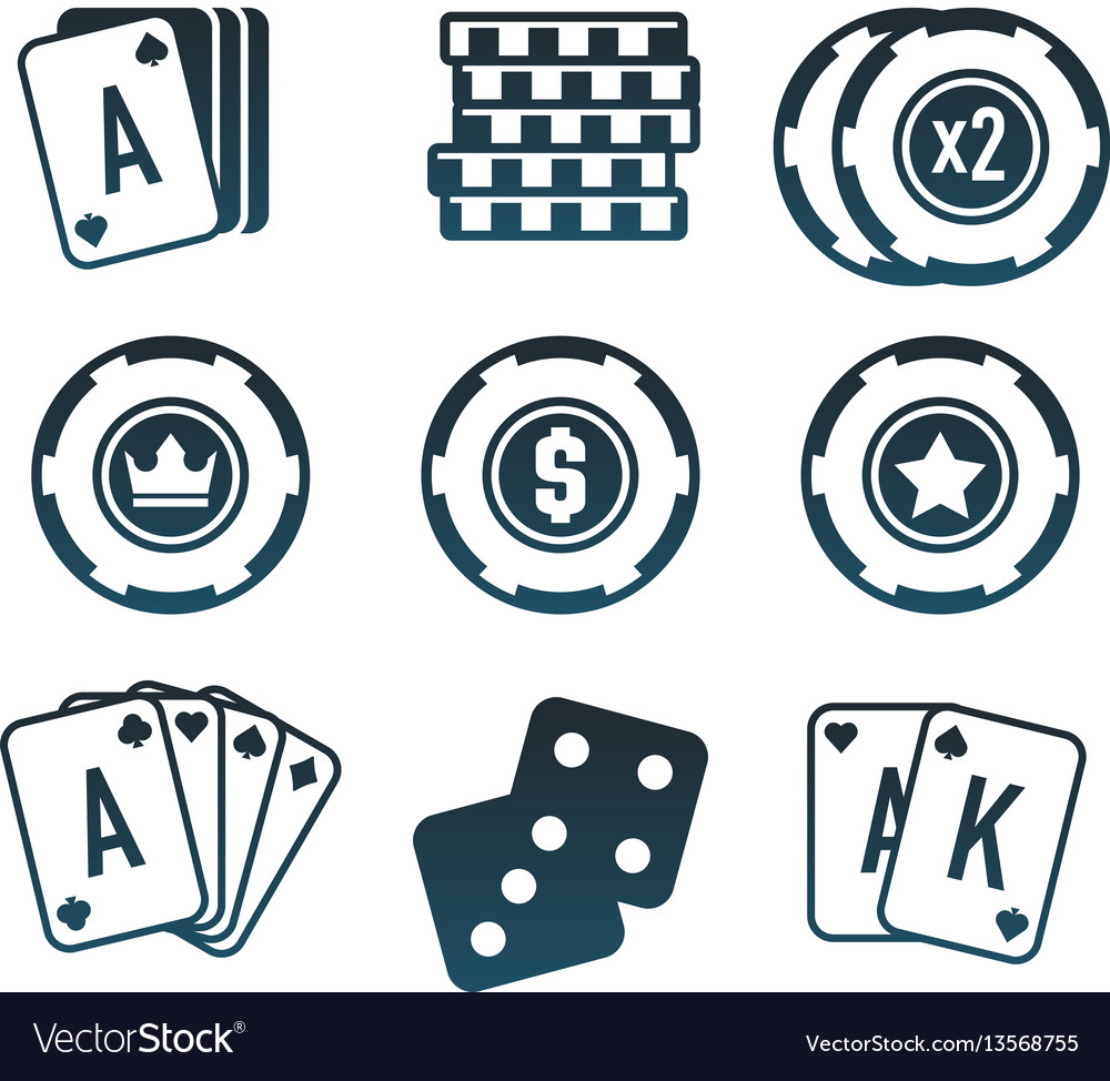 Modern set of colorful gambling and casino icons vector image