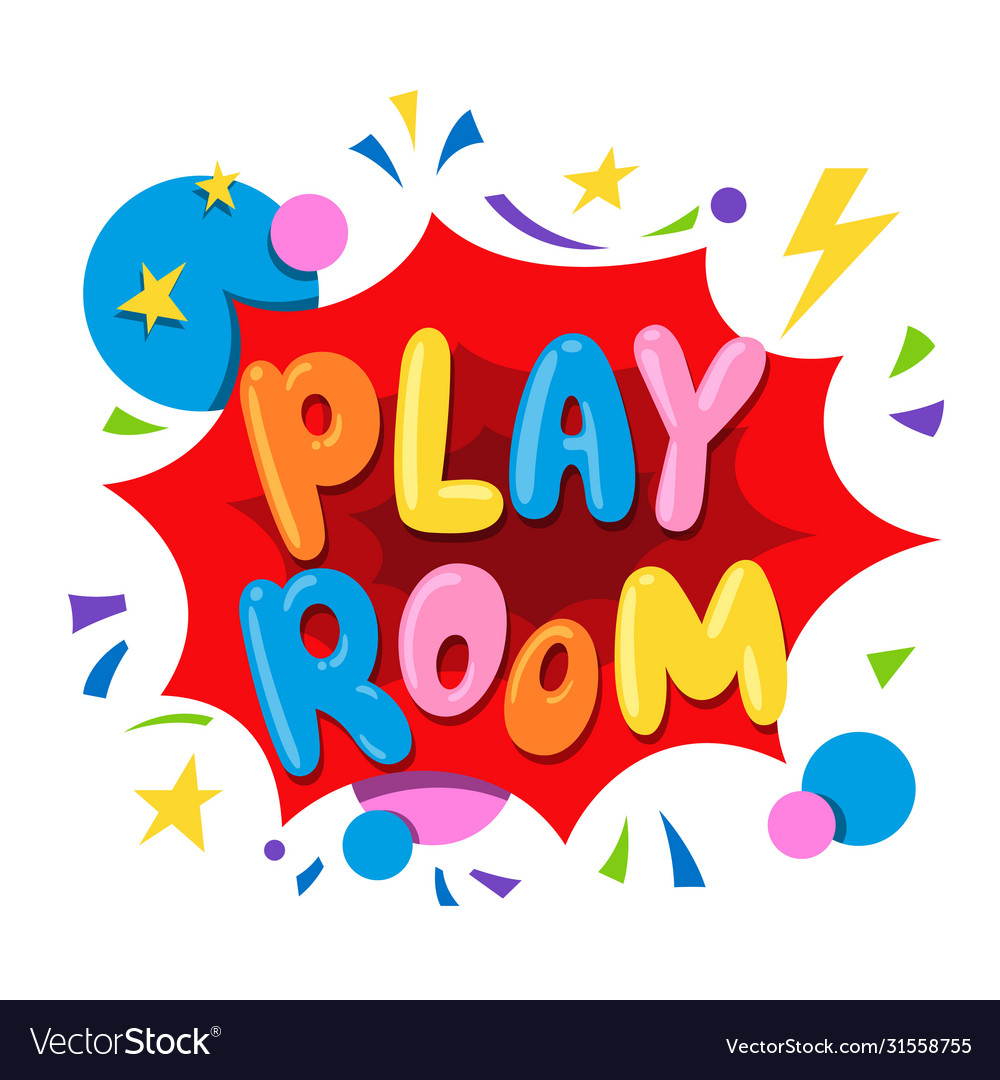 Play room text banner with stars circles