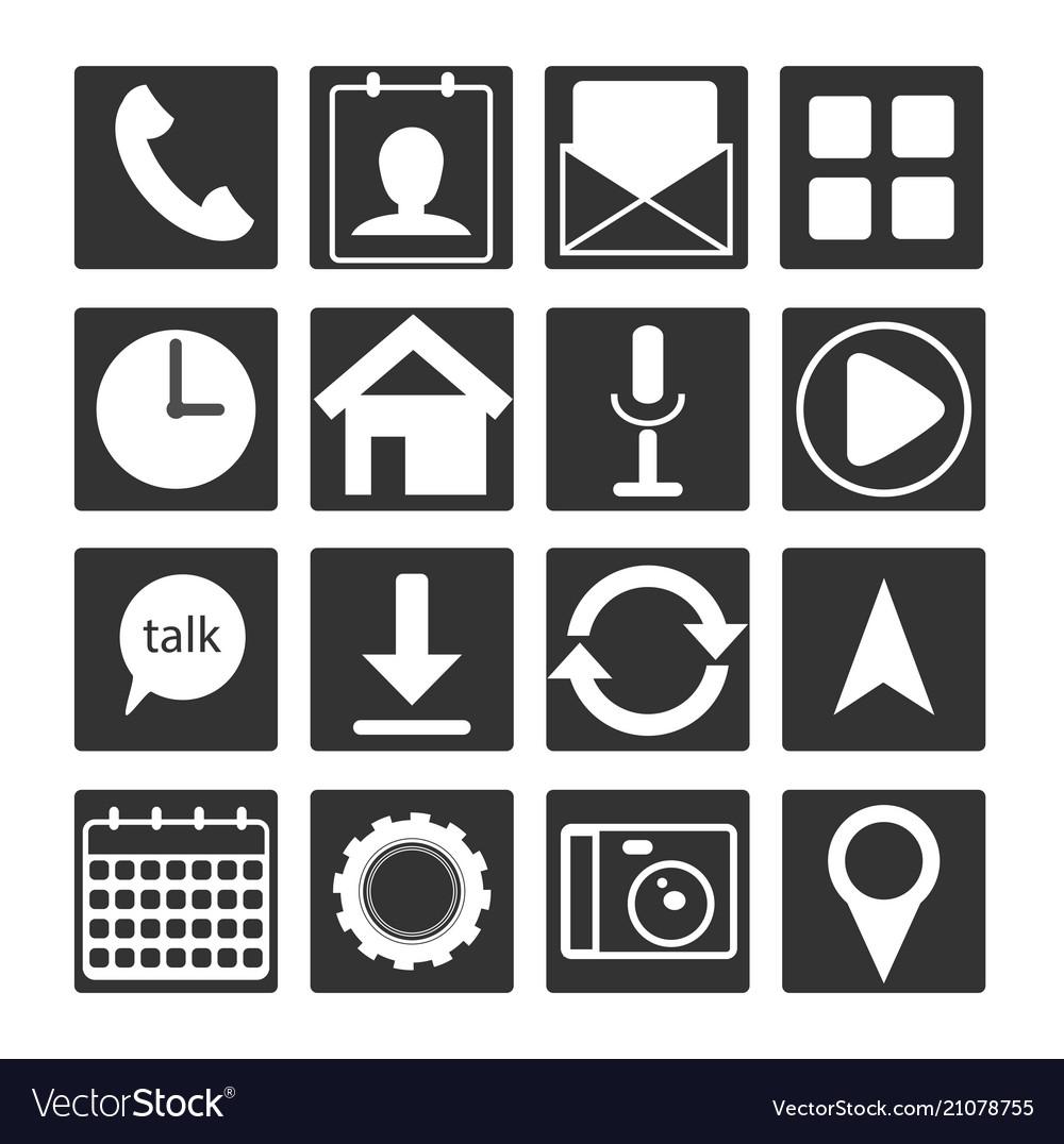 Set of 16 black white flat mobile app icon outlin
