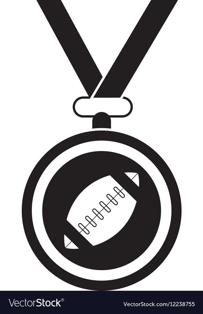 Silhouette sport medal ribbon american football