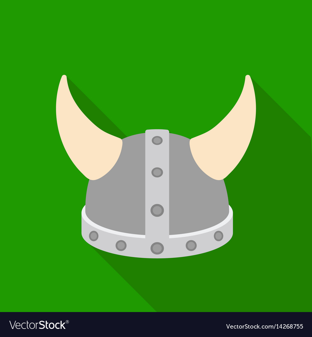 Viking helmet icon in flat style isolated on white