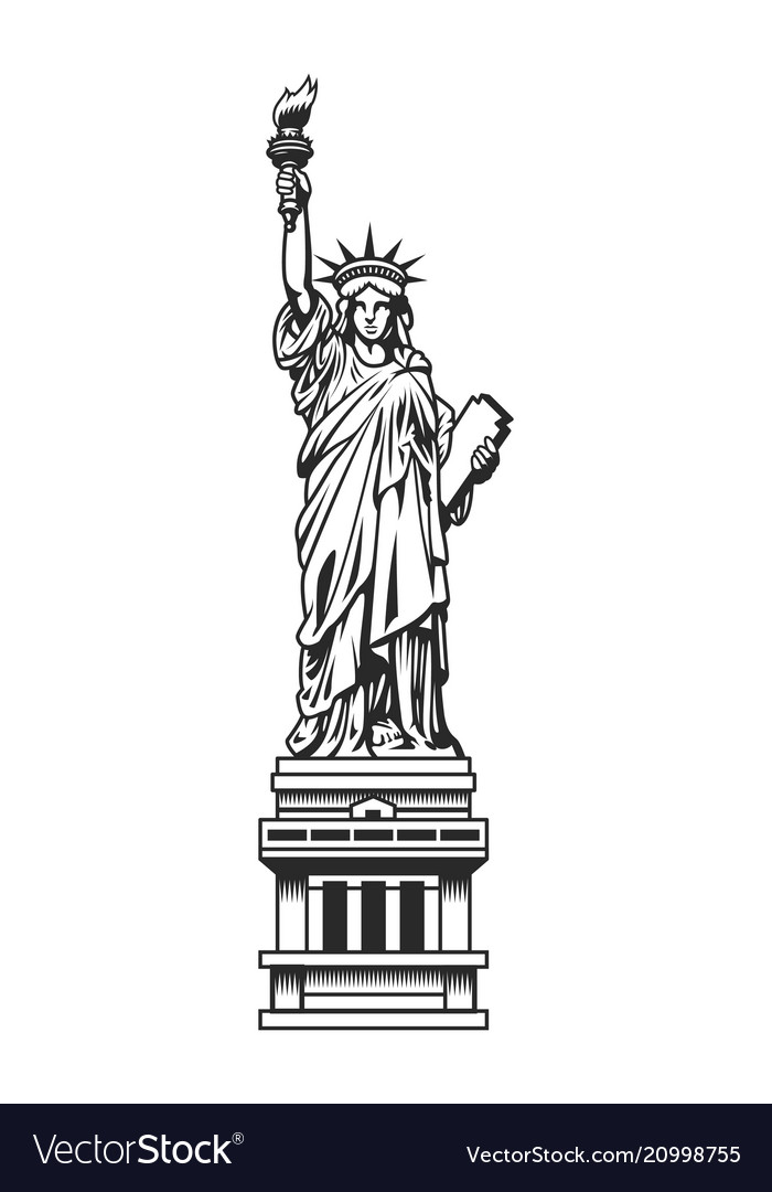 vintage statue of liberty template royalty free vector image