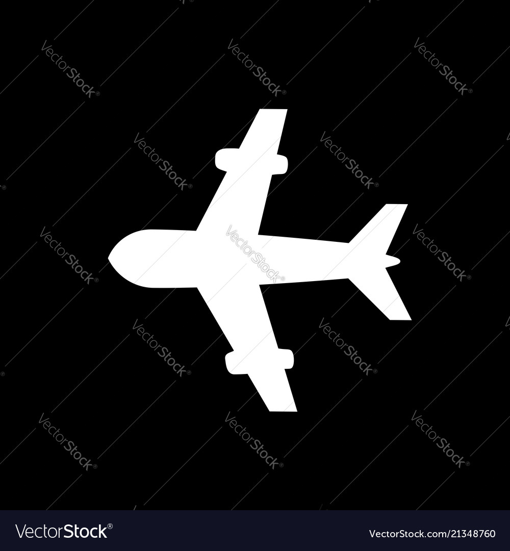 Airplane icon isolated on black background