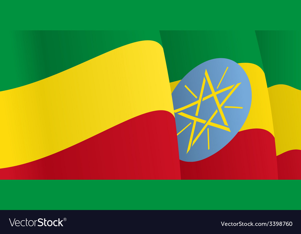 Background with waving Ethiopian Flag