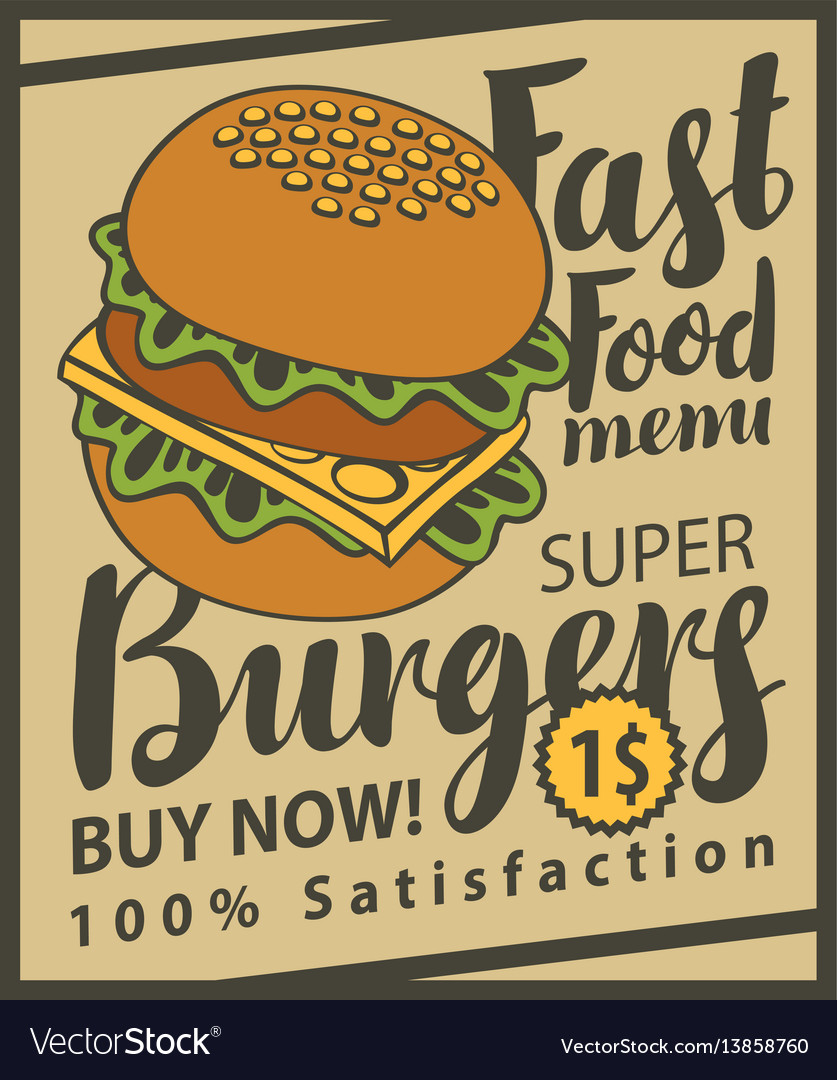 Banner with super cheeseburger on retro style
