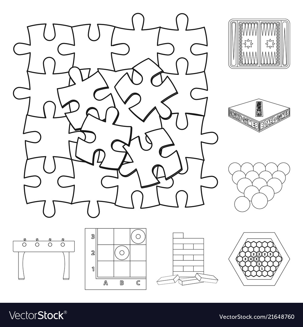 Board Game Outline Icons In Set Collection For Vector Image - Game outline