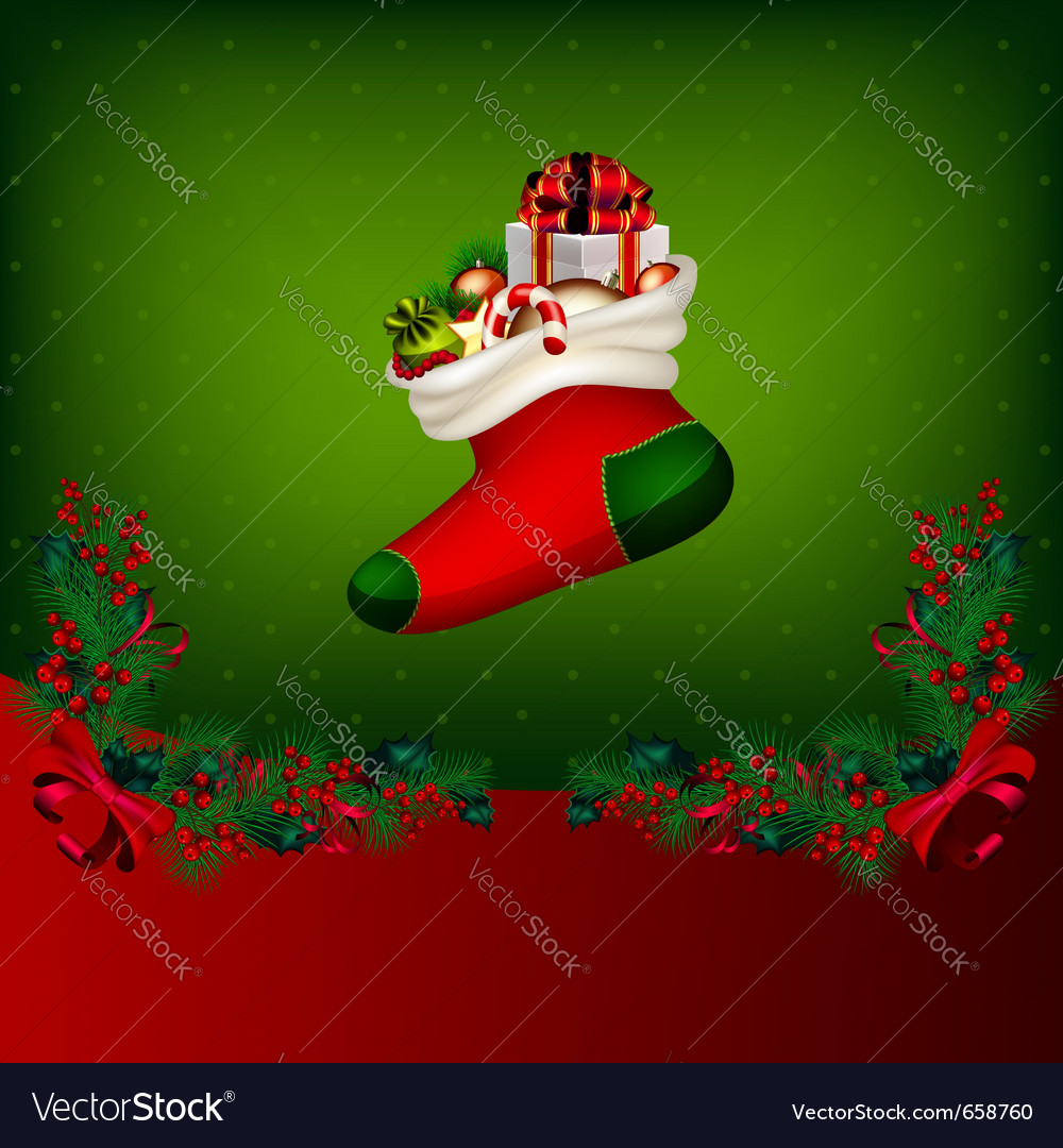 Bright christmas background with garland from fir vector image