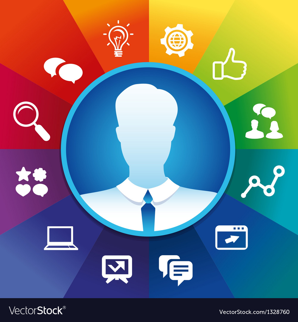 Businessman and social media icoons vector image