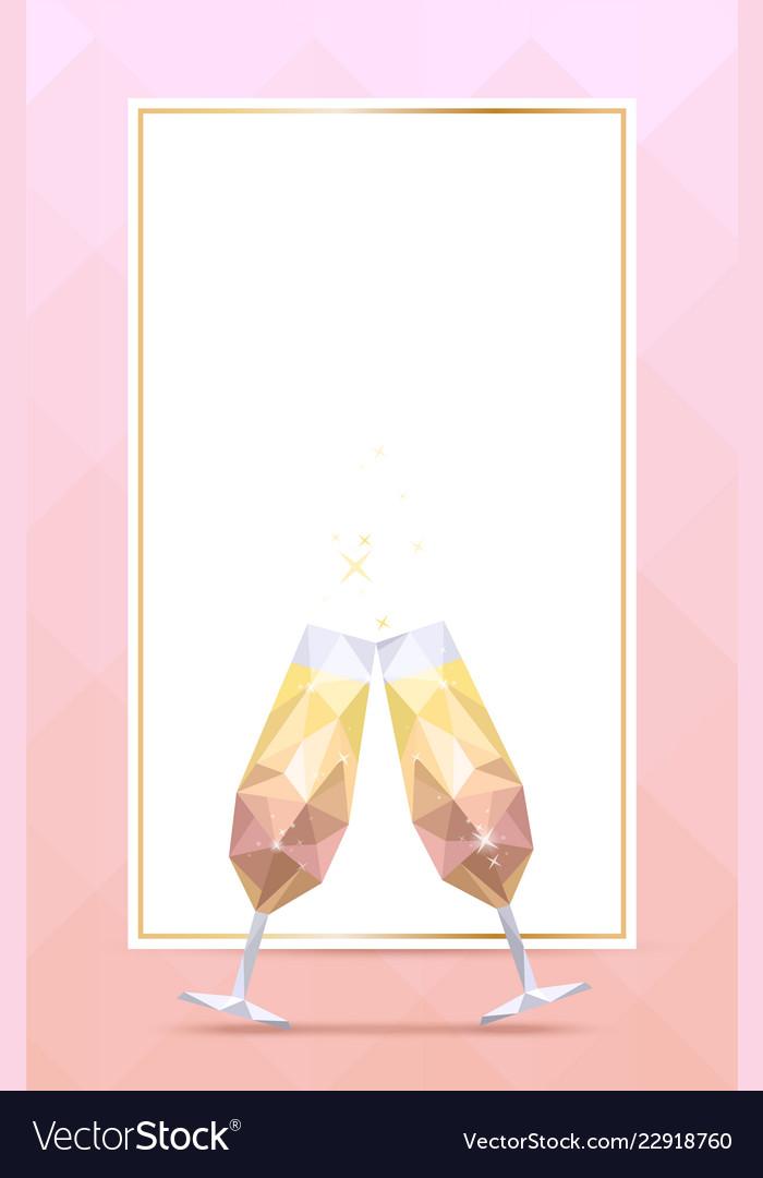 Champagne glasses and golden frame
