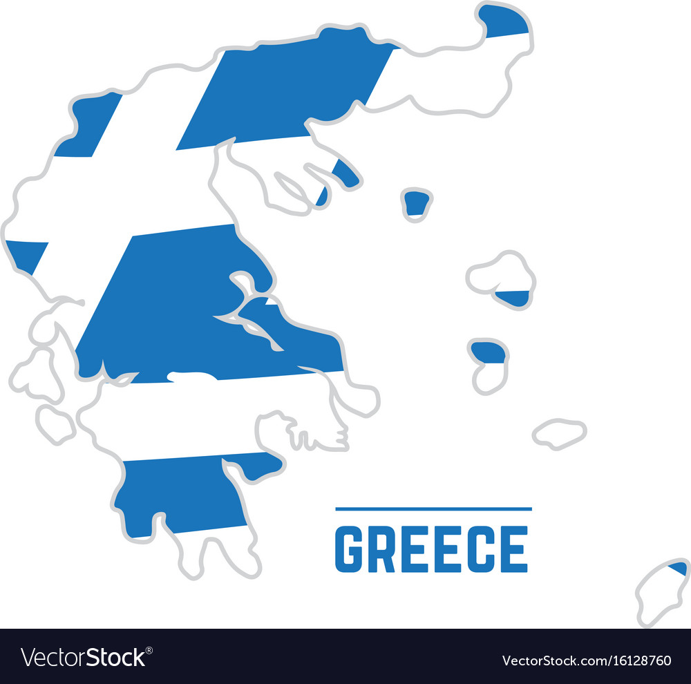 Flag and map of greece vector image