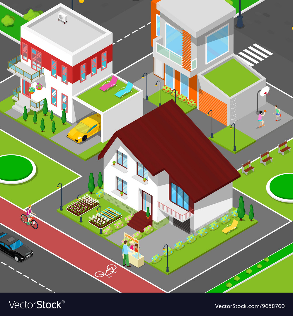 Isometric City Cottage Dormitory Area vector image