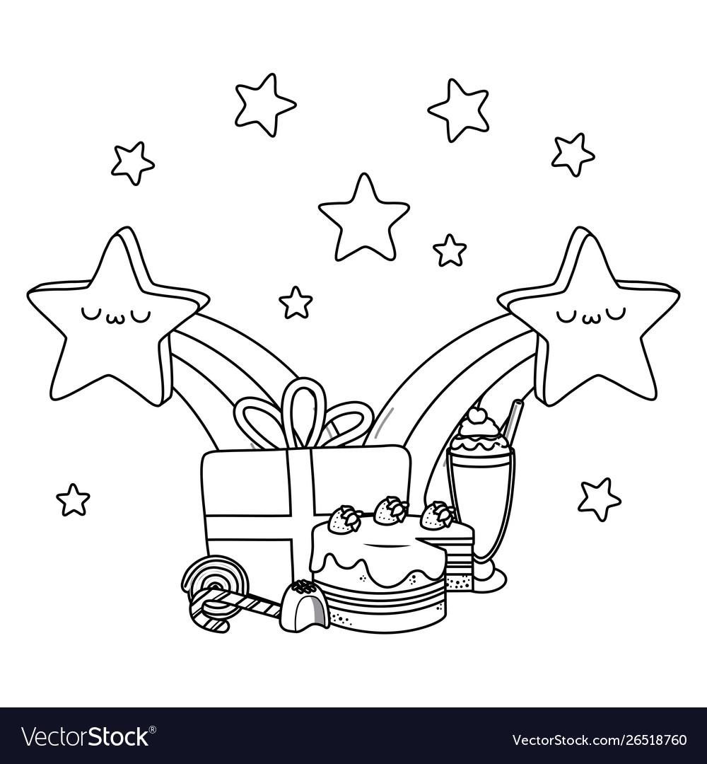 Kawaii stars and happy birthday design