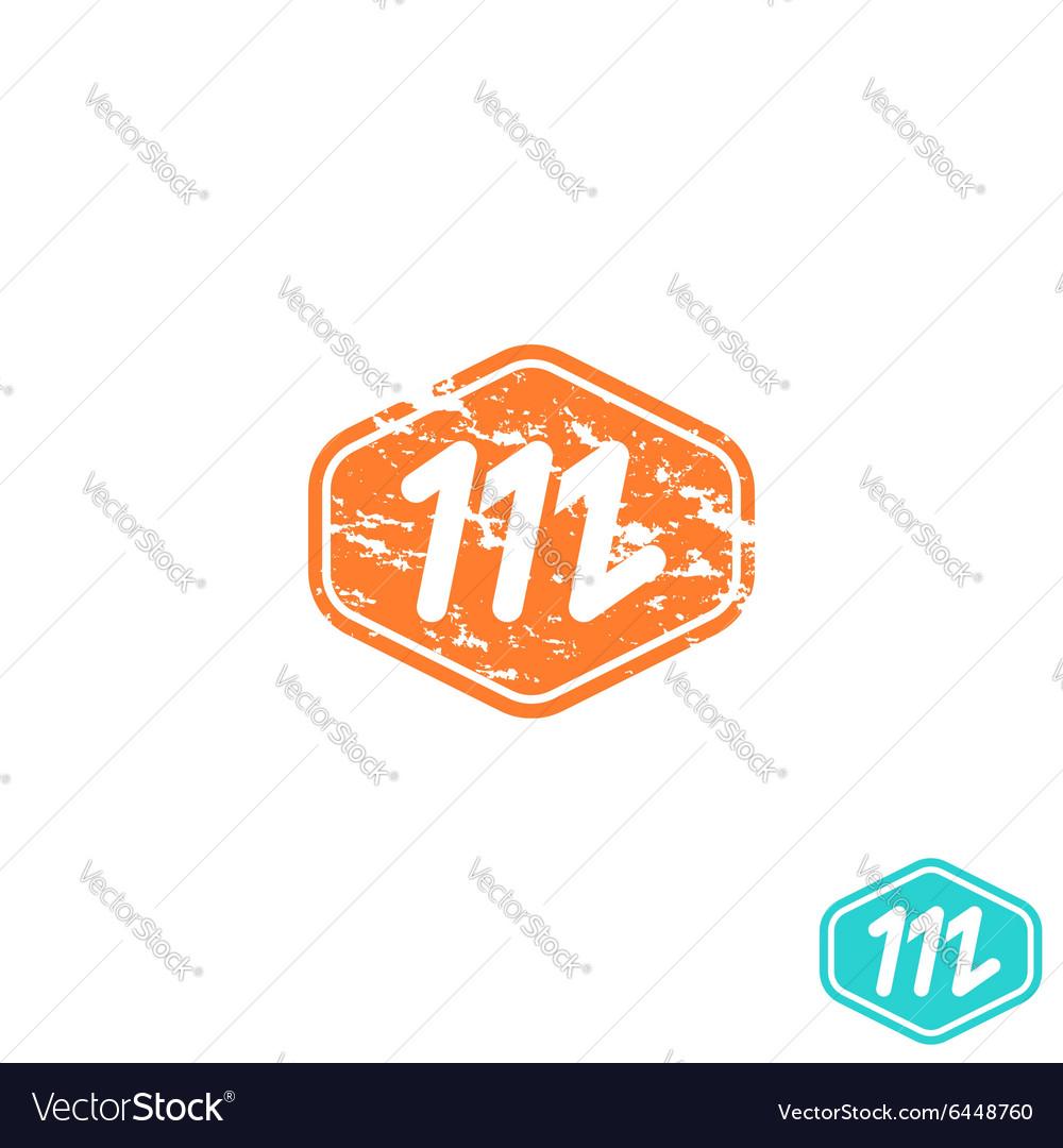 Logo M letter mockup emblem effect shabby paper