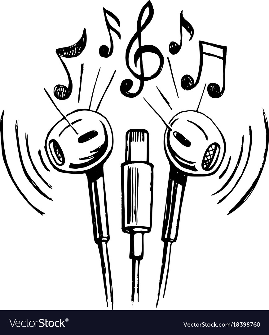 Mobile Headphones Doodle Sketch Royalty Free Vector Image