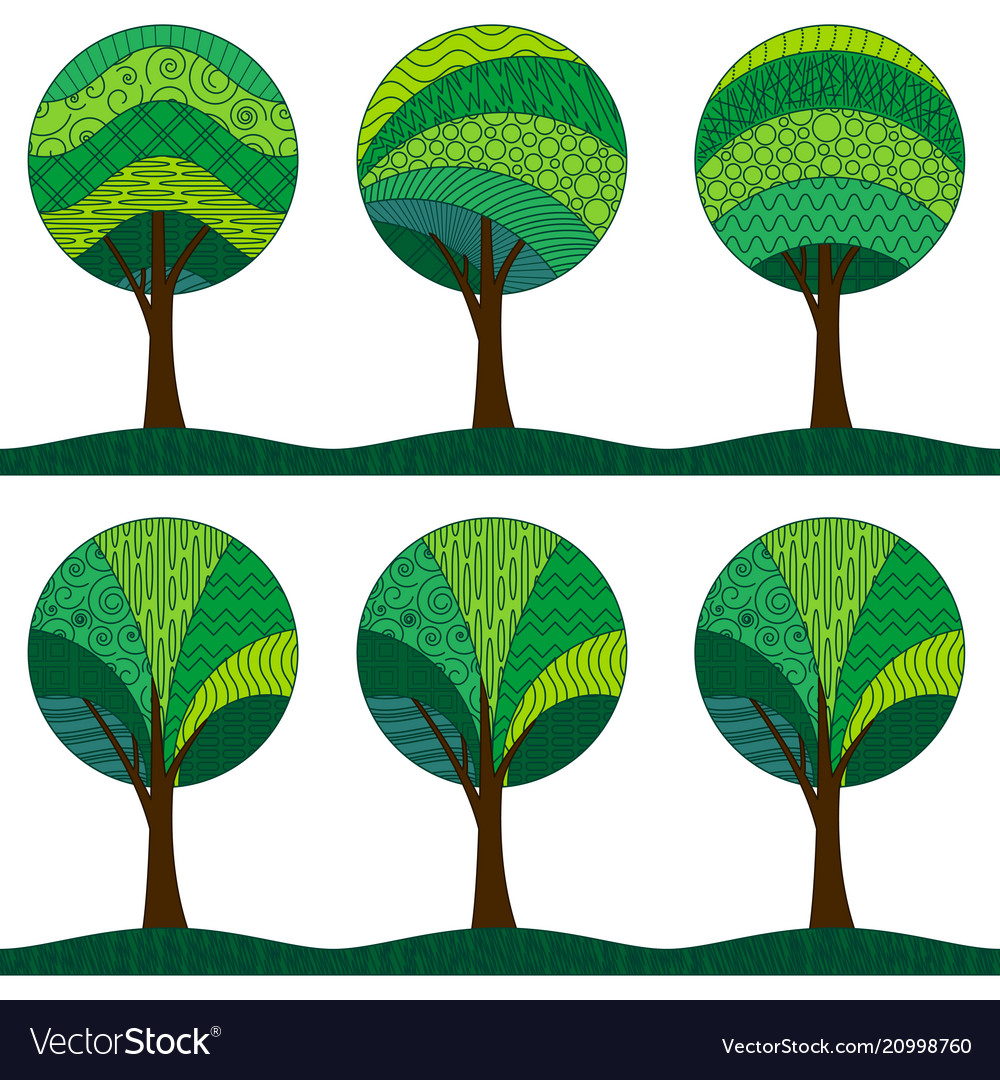 Patterned trees seamless pattern