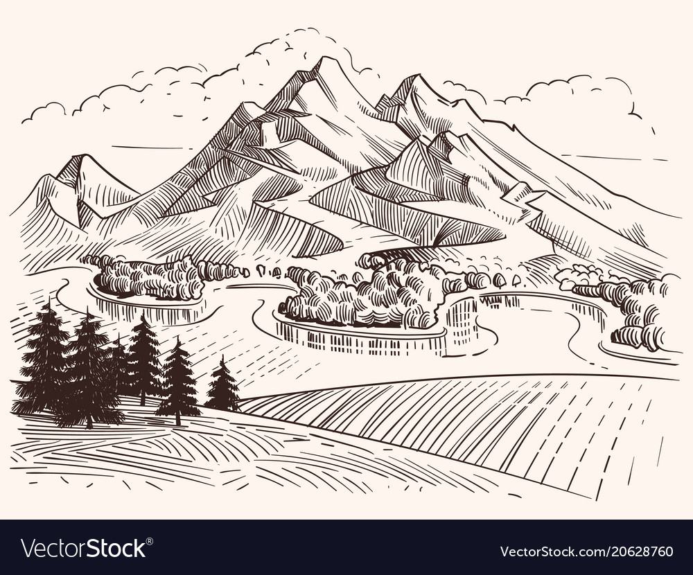 Pencil drawing mountain landscape cartoon sketch