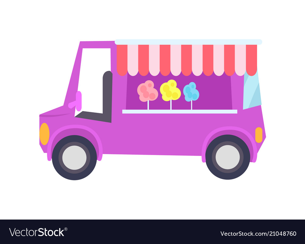 Pretty lilac car-shop with sweet cotton candy