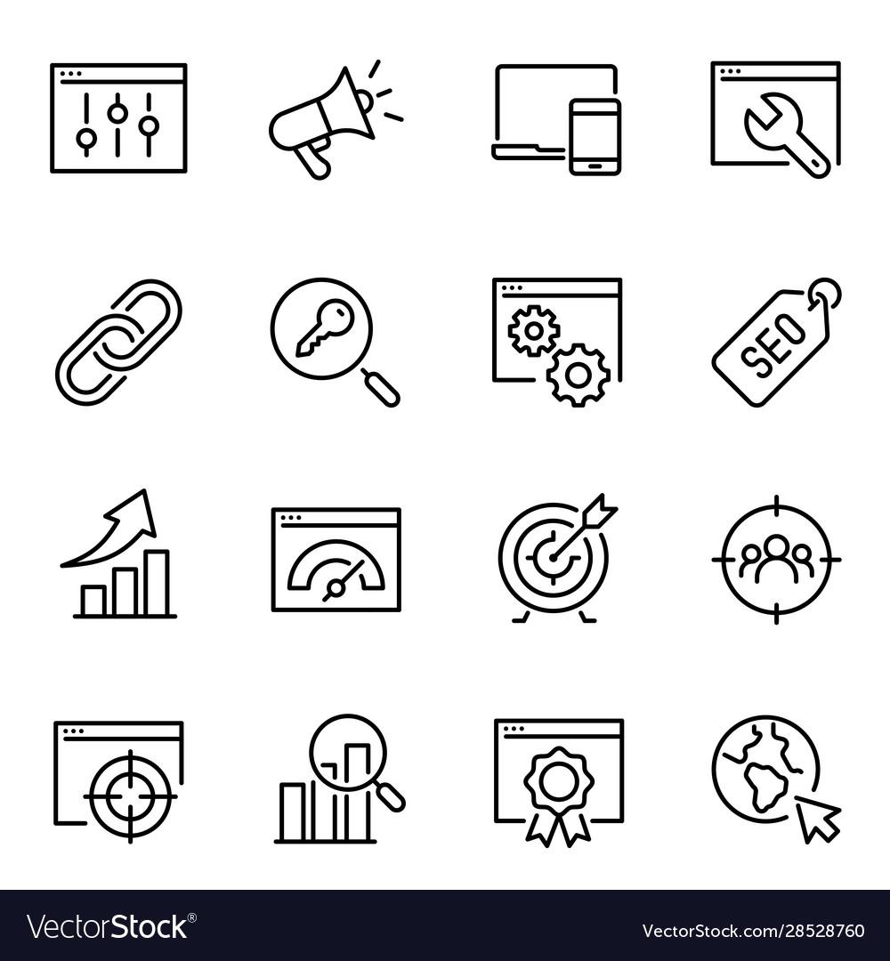 Search engine optimization thin line icons set