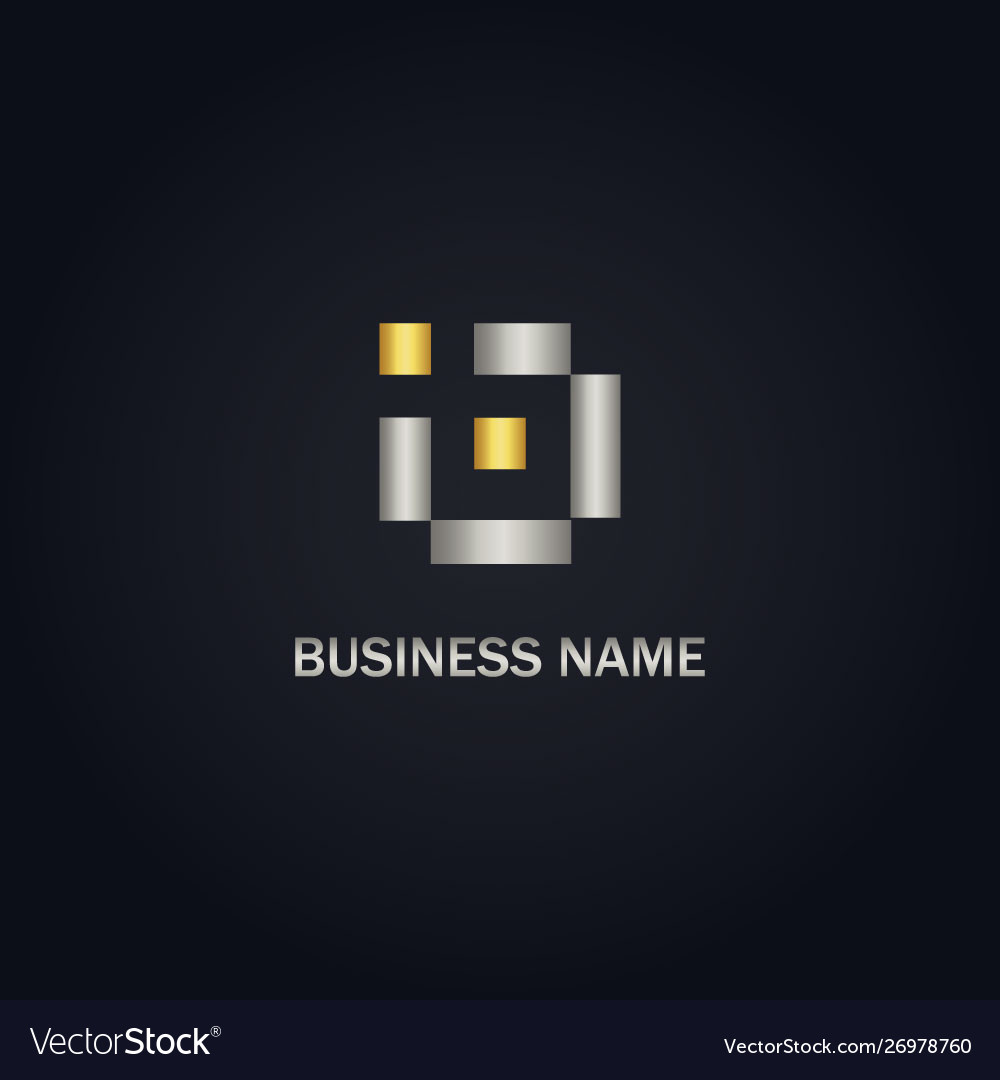 Square digital initial gold logo