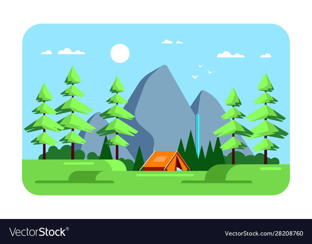 Summer landscape camping area flat design vector