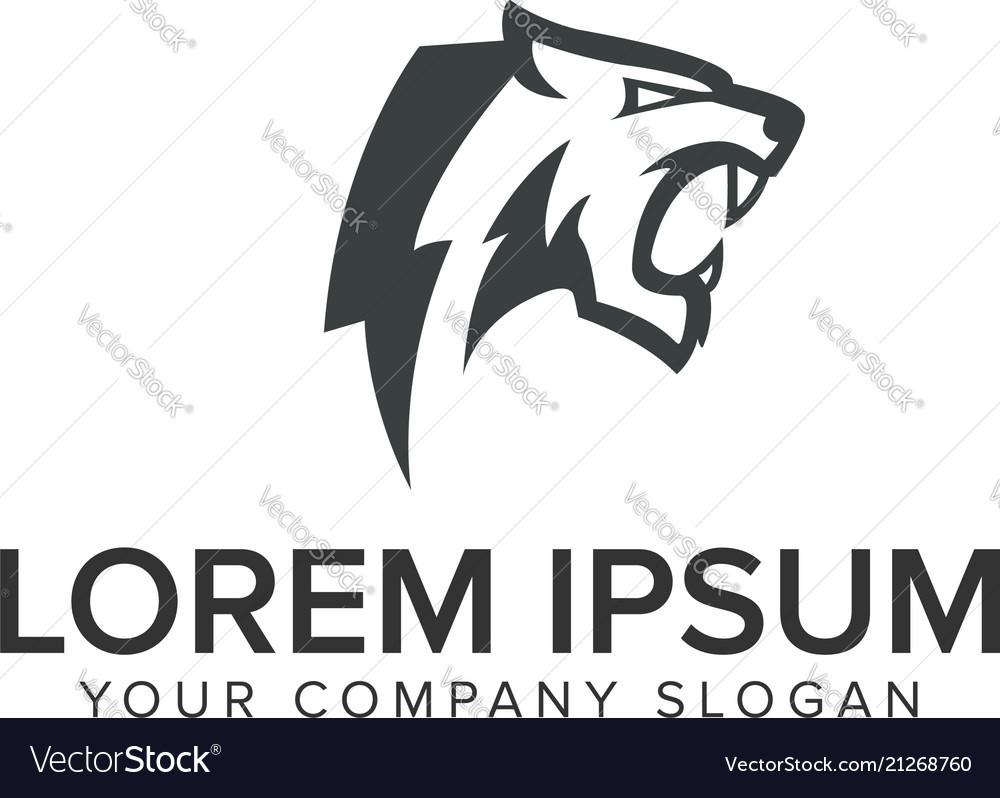 Tiger head beast logo design concept template
