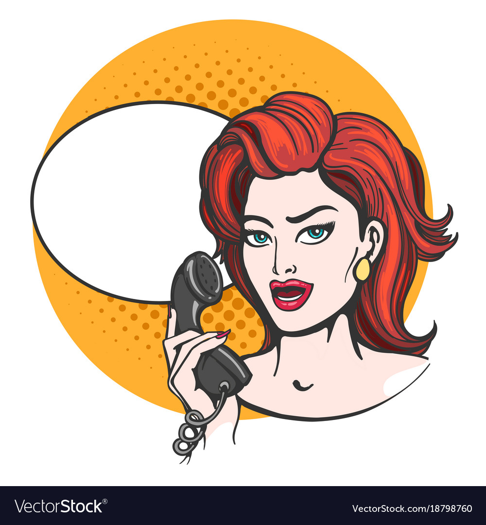 Woman with phone drawn in pop art style