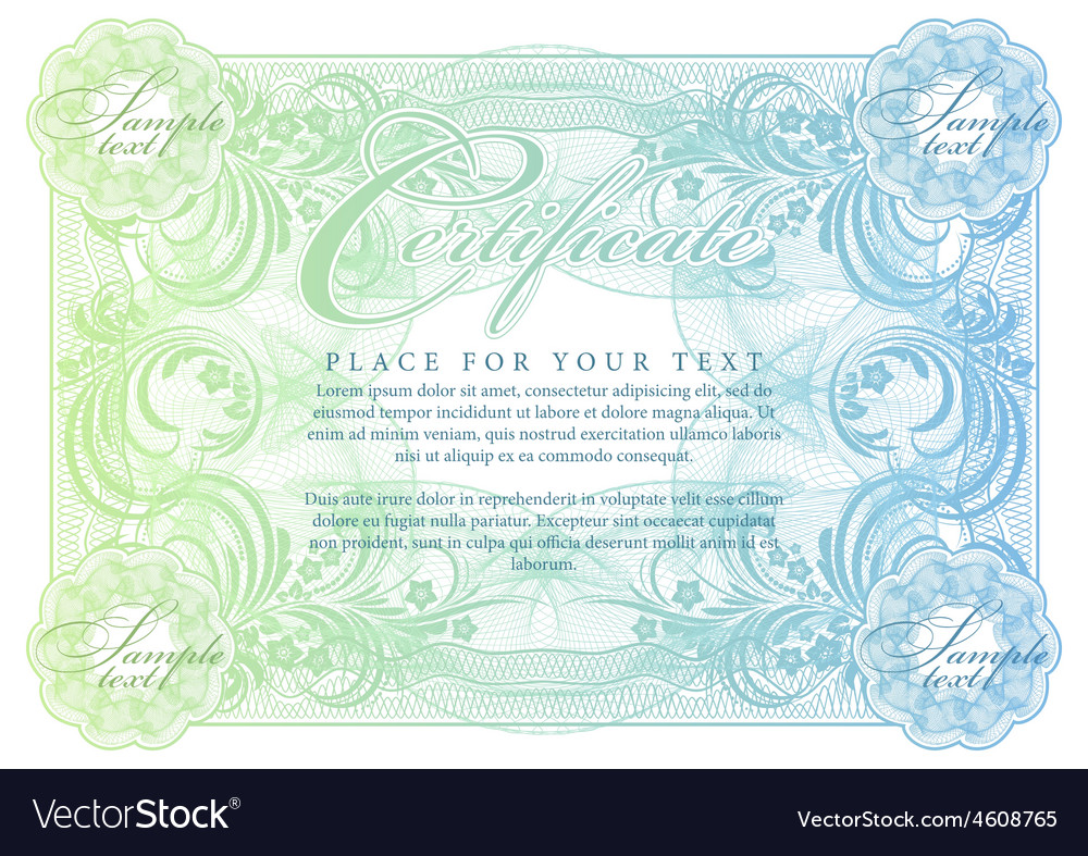 Certificate Template Diplomas Currency Royalty Free Vector