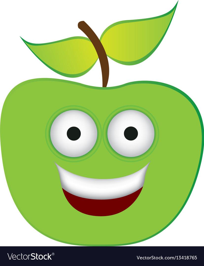 Color green kawaii fruit apple happy icon vector image