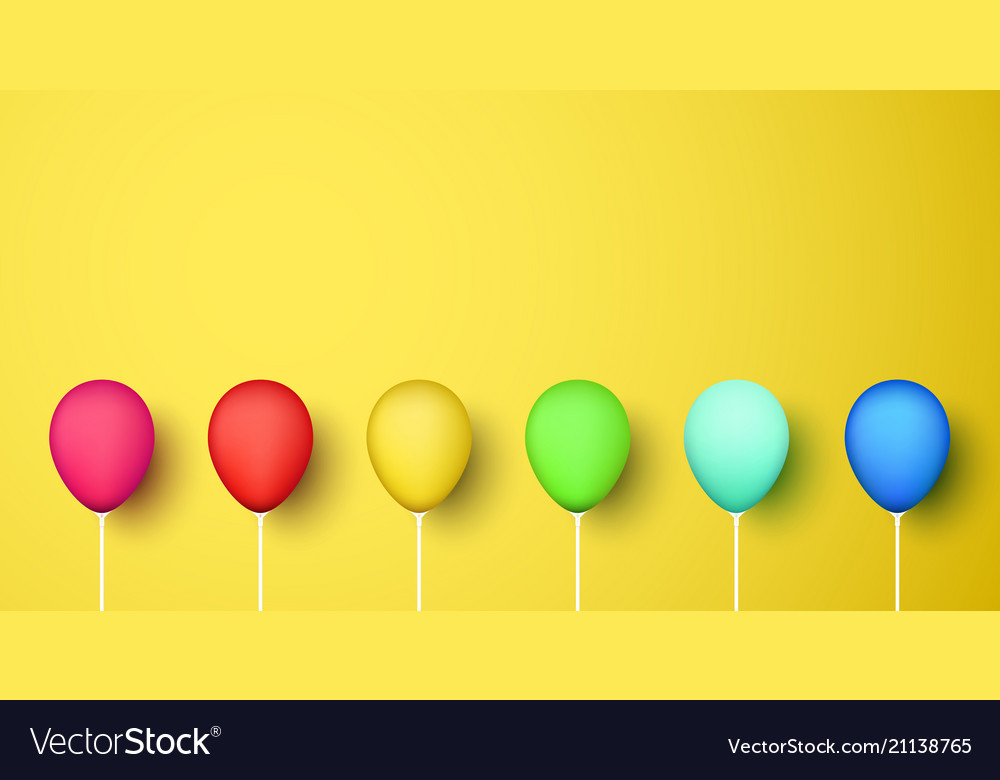 Colorful realistic 3d balloons on yellow
