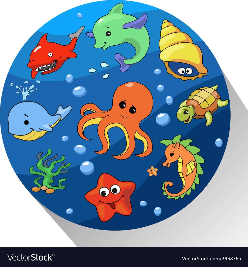 Cute sea creatures set