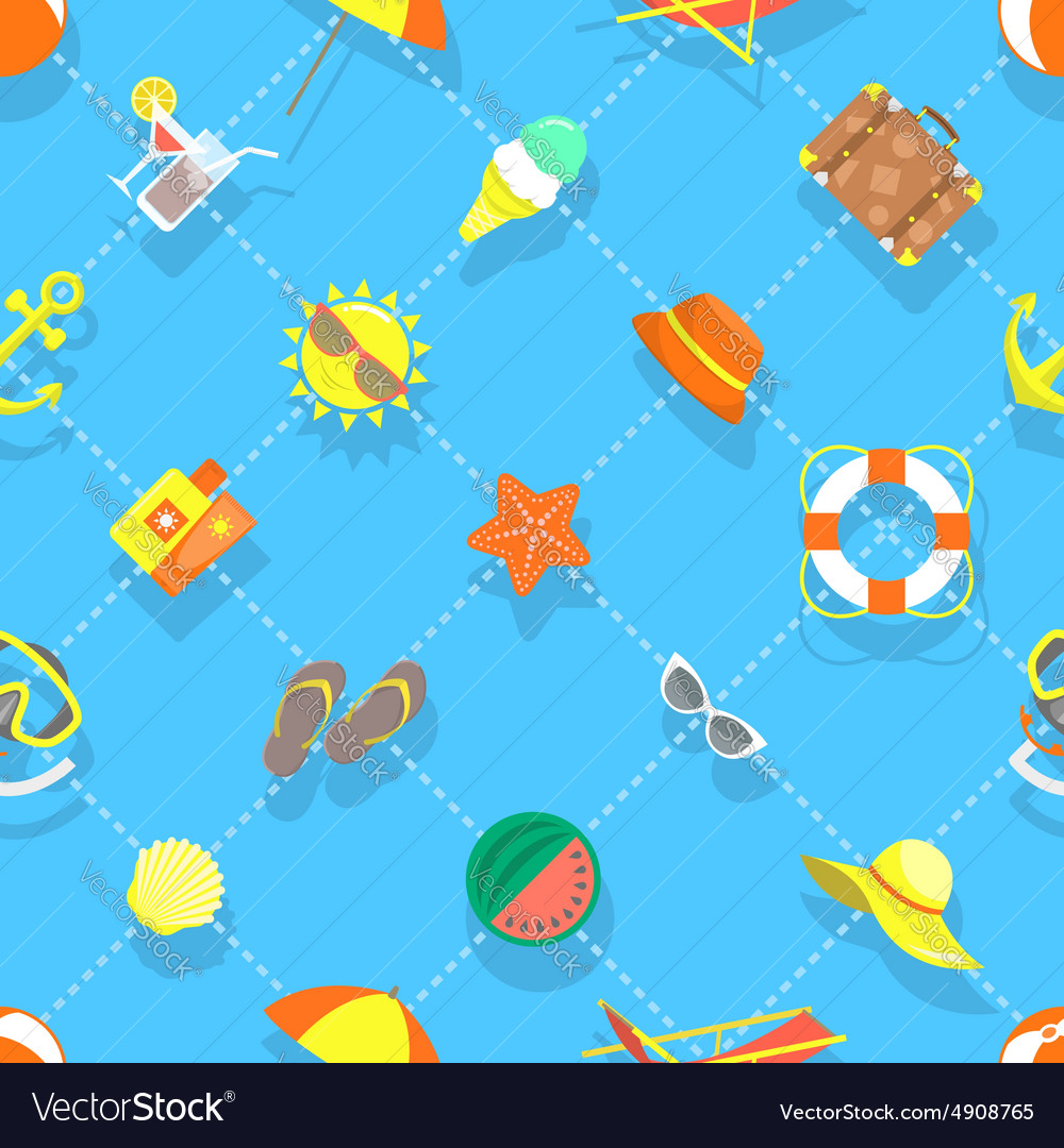 Flat summer vacation beach icons seamless