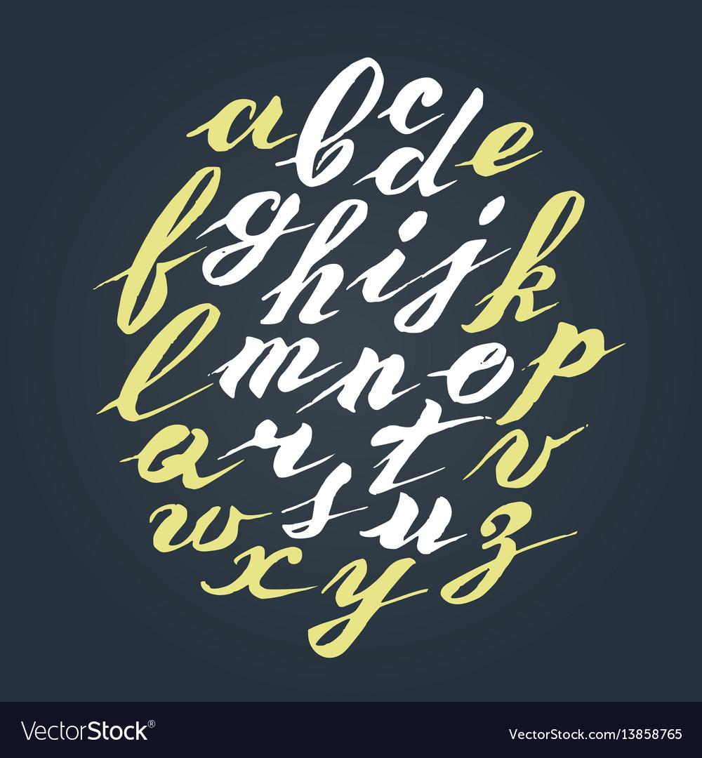 Hand written lettering alphabet brushed