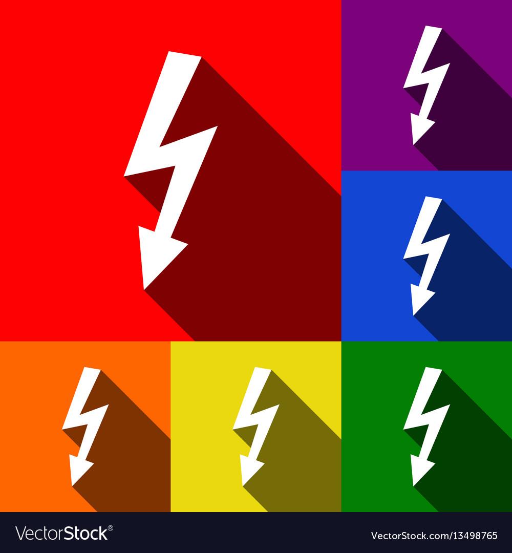 High voltage danger sign set of icons