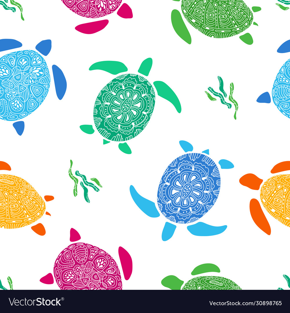 Seamless pattern with colorful doodle turtles