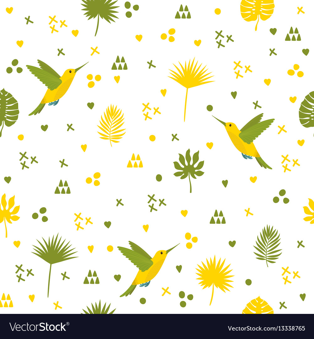 Seamless pattern with hummingbird and leaves cute