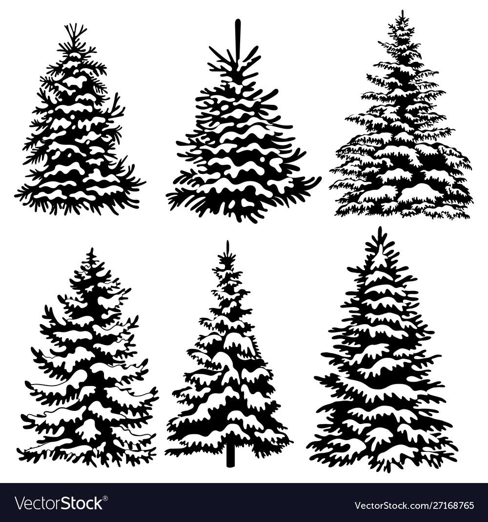 Set christmas trees collection black and