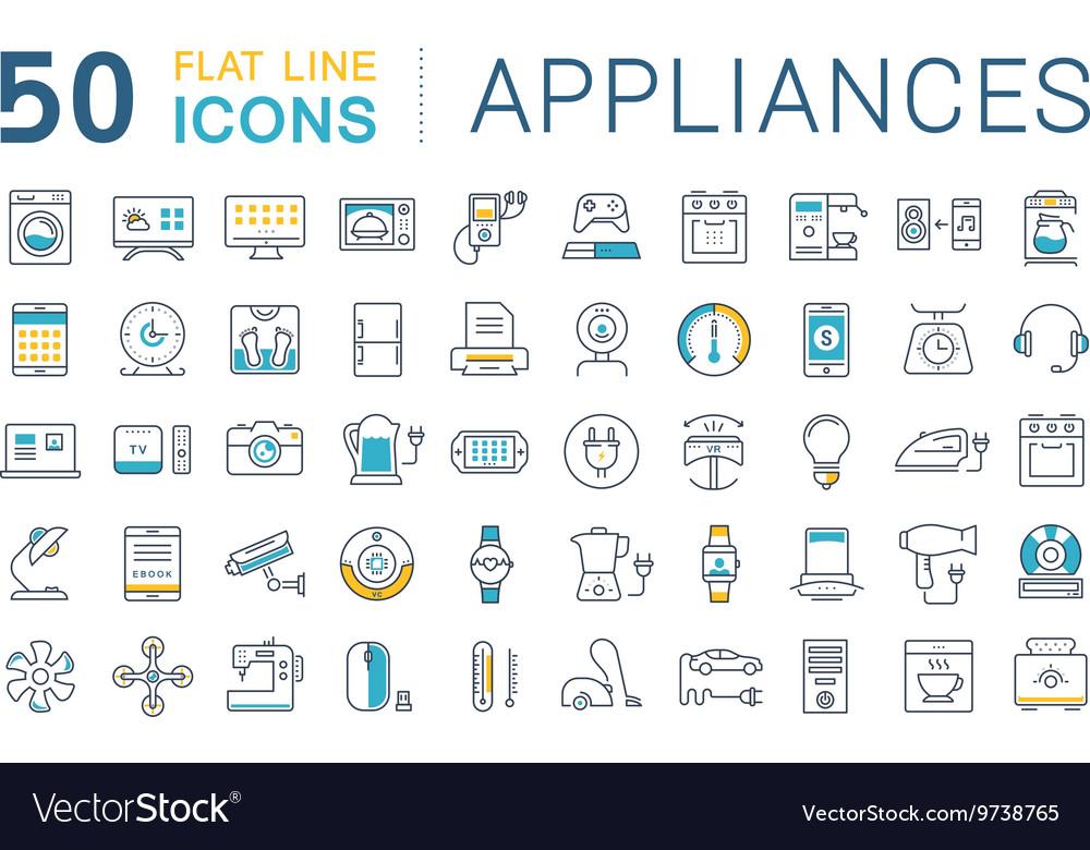 Set Flat Line Icons Appliance