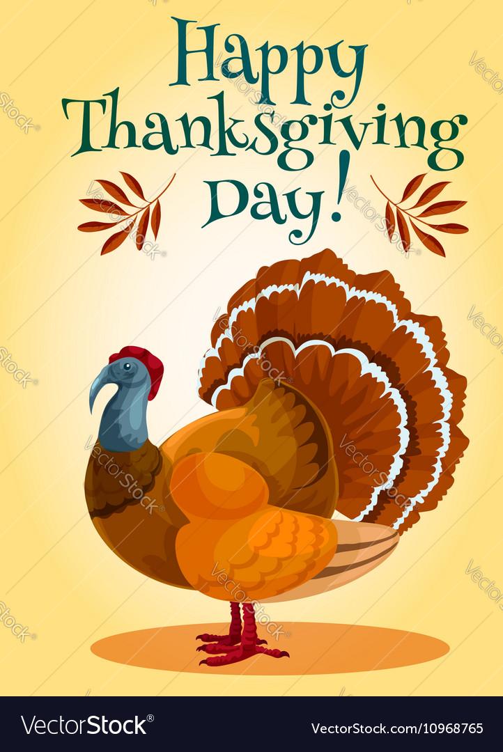 Thanksgiving Day turkey greeting card design