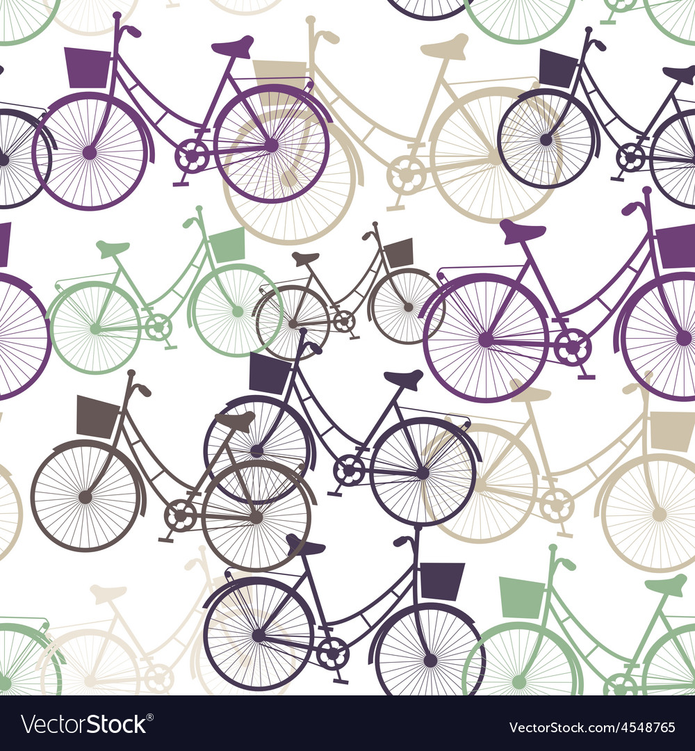 Vintage bicycles seamless pattern pastel colors vector image