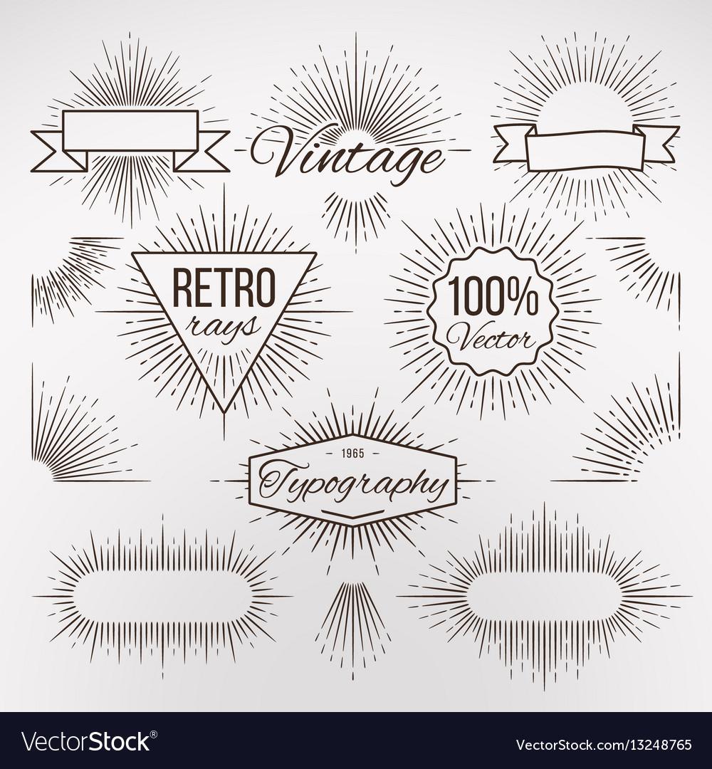 Vintage burst shape decoration for typography