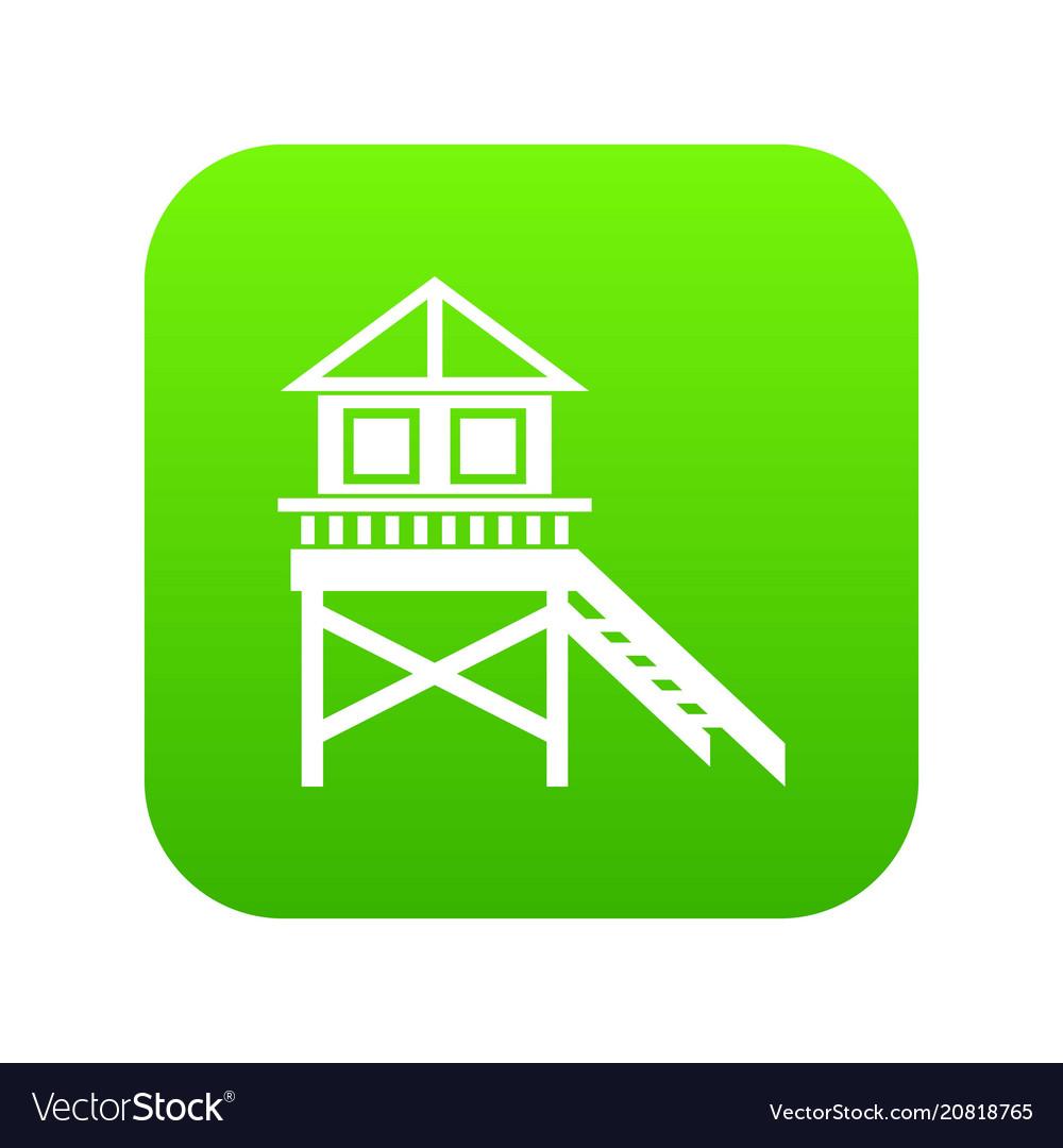 Wooden stilt house icon digital green vector image