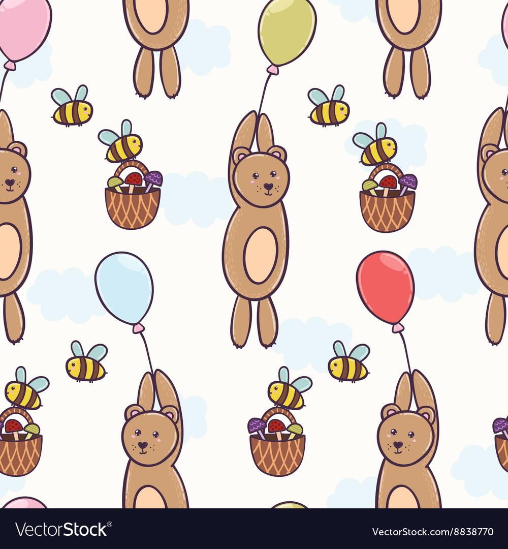 Cute bear flying on a balloon seamless pattern