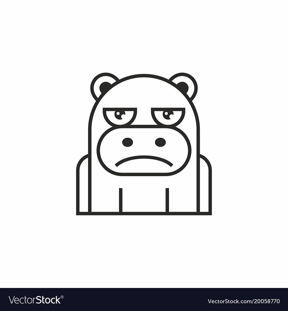 Cute hippopotamus icon on white background